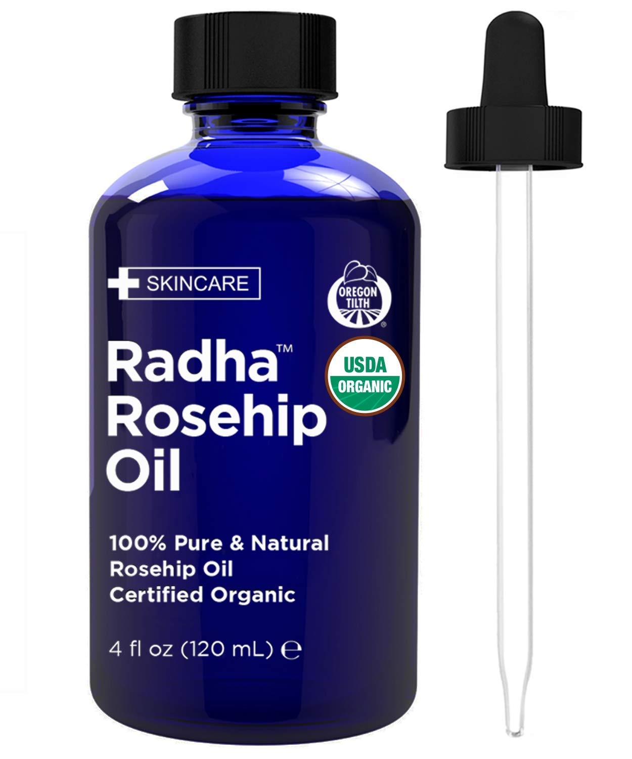 Radha Beauty Rosehip Oil USDA Certified Organic, 4 oz. - 100% Pure & Cold Pressed