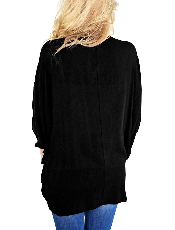 MineQ Womens Kimono Cardigan Lightweight Chiffon 3/4 Sleeve Open Front Loose Fit Cardigans Black XL by MineQ (Image #3)