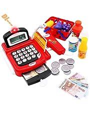 26dc37363c Symiu Caja Registradora Niños Juguetes con Calculadora Electrónica Escáner  Cesta de la Compra Supermercado Juguete para