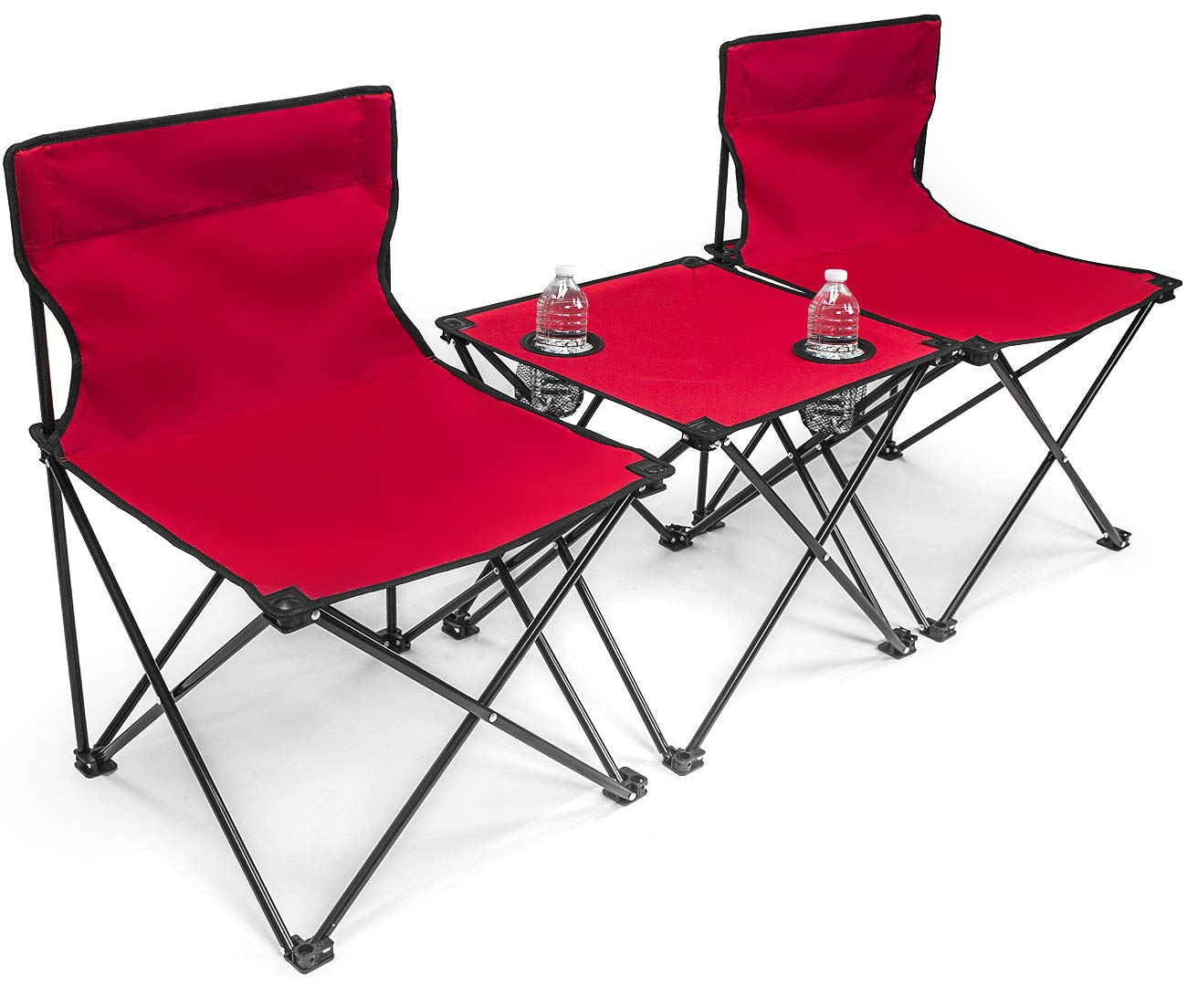 Sorbus Camp Chairs Table Set with Cup Holder Cooler, Foldable Frame, and Portable Carry Bag, Great for Camping, Sporting Events, Beach, Travel, Backyard, Patio, etc (Chair Table Set – Red)