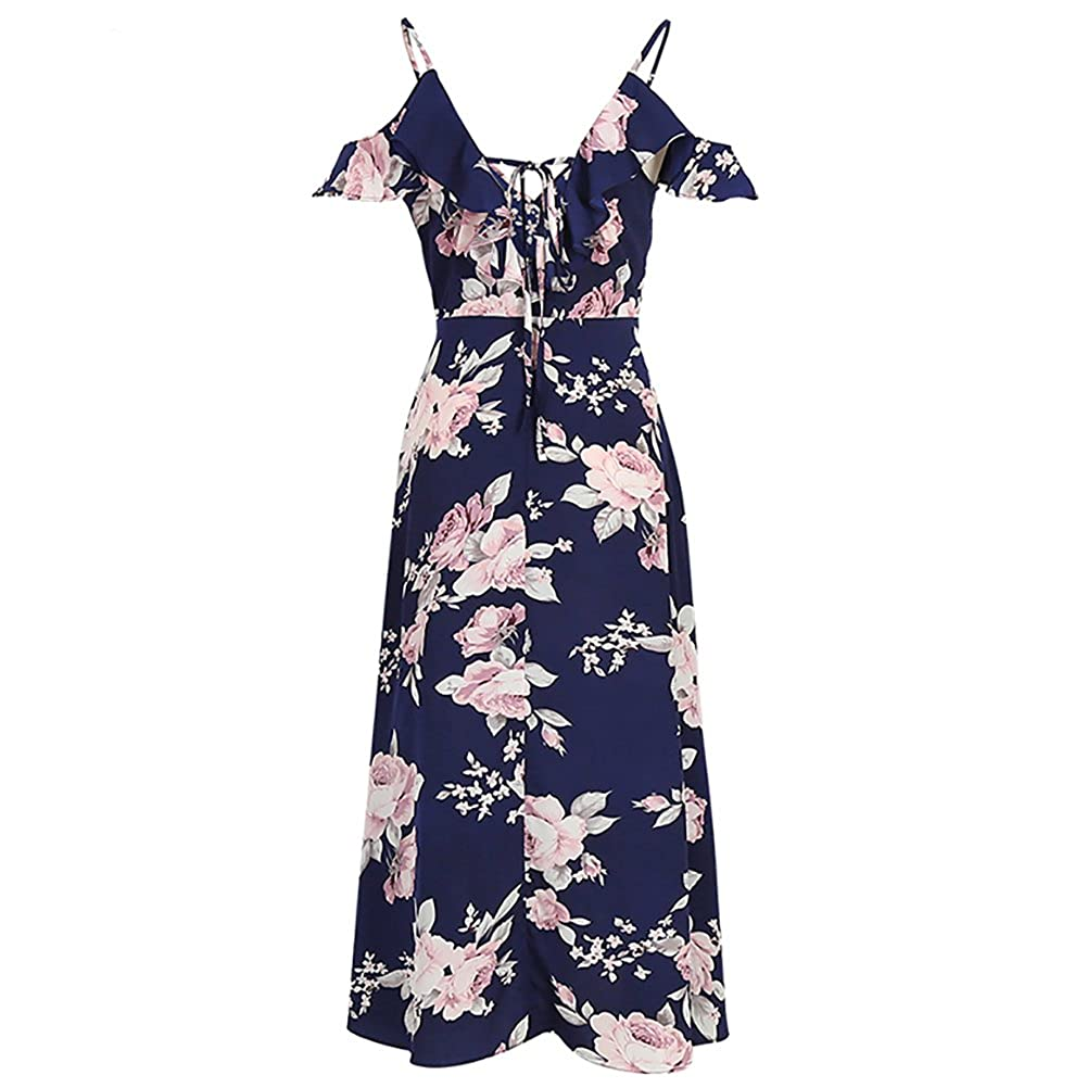 f498a4872 Clothing, Shoes & Jewelry Baby Girls PopReal Mommy and Me Floral Print V-Neck  Cold Shoulder Ruffle Backless Matching Outfits Blue ML18070521