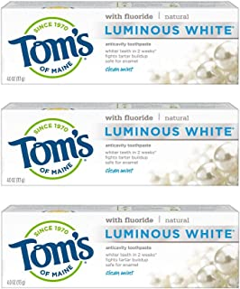 product image for Tom's of Maine Luminous White Toothpaste, Whitening Toothpaste, Natural Toothpaste, Clean Mint, 4.0 Ounce, 3-Pack