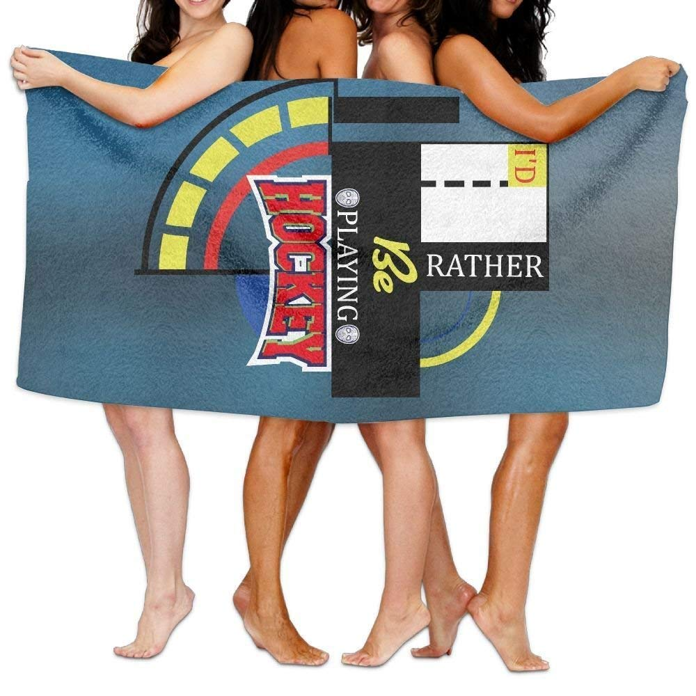 Beach Towel I'd Rather Be Playing Hockey I Love Hockey 80 X 130 Soft Lightweight Absorbent for Bath Swimming Pool Yoga Pilates Picnic Blanket Towels ONETAIWA