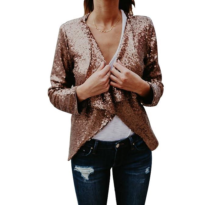 NiSeng Mujeres Casual Manga Larga Outerwear Jacket Irregular ...