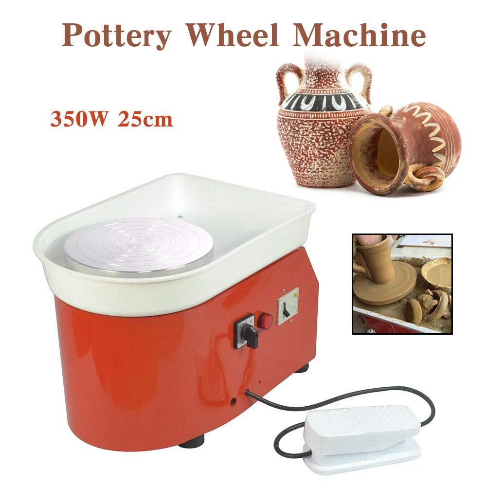 MOPHOTO Pottery Wheel 9.8Inch/25CM Pottery Forming Machine 350W Electric Pottery Wheels DIY Clay Tool with Tray for Ceramic Work Ceramics Clay (Orange) by MOPHOTO (Image #6)