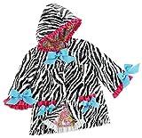 Mud Pie Wild Child Zebra Rain Coat, Black/White/Blue/Pink, 12 18 Months