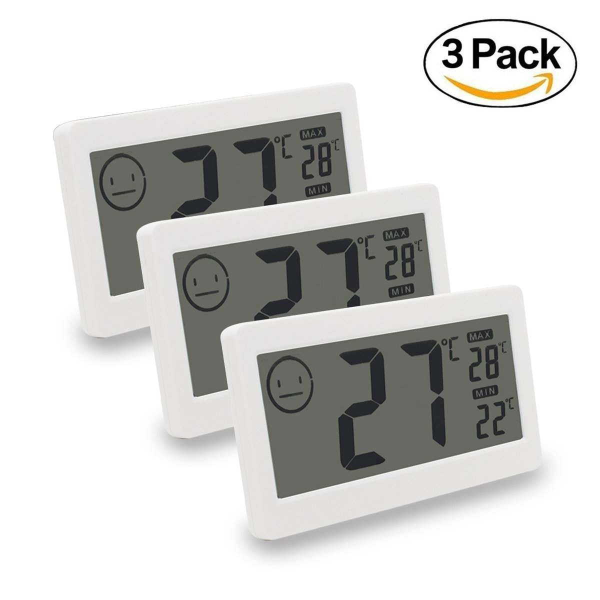 MIKIZ Digital Thermometer Hygrometer Temperature and Humidity Display with 3.3 inch LCD for Household Office Gym Kitchen etc (3 Pack)