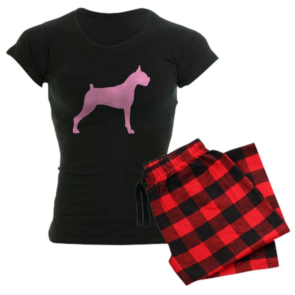 CafePress Pink Boxer Dog Womens Dark Pajamas Womens PJs