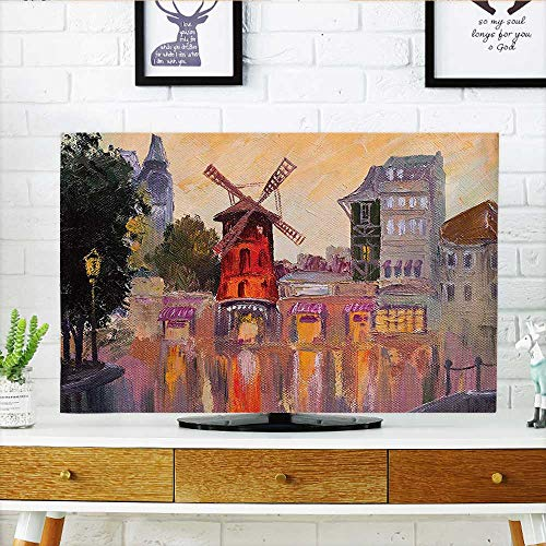 Auraisehome Protect Your TV Decor Collection Painting of Moulin Rouge in Paris City Centre of Love Vintage Protect Your TV W19 x H30 INCH/TV 32