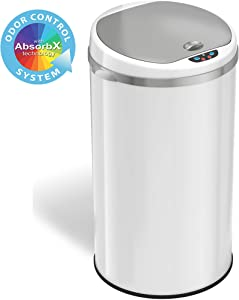 iTouchless 8 Gallon Touchless Sensor Trash Can with Odor Filter System, 30 Liter Round White Steel Garbage Bin, Perfect for Home, Kitchen, Office