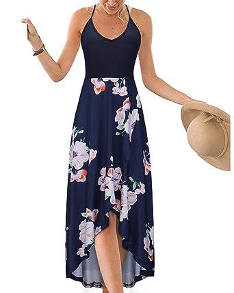7fcf496a10c KILIG Women s V Neck Sleeveless Asymmetrical Patchwork Floral Maxi Dresses  ...