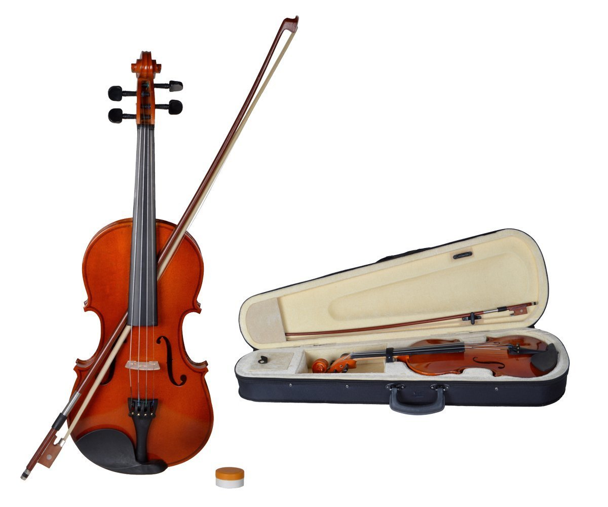 amazon com tms 4 4 full size natural acoustic violin fiddle with