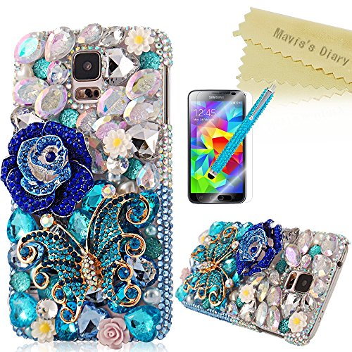 Mavis's Diary 3D Handmade Crystal Butterfly and Flowers Rhinestone Diamond with Clear Hard Case Cover for Samsung Galaxy S5 I9600 with Soft Clean Cloth (Blue Butterfly Blue Flower Case+Stylus Pen+HD Screen Protector)