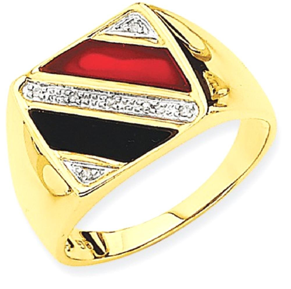 ICE CARATS 14k Yellow Gold Mens Black Onyx Red Agate Diamond Band Ring Size 10.00 Man Fine Jewelry Dad Mens Gift Set