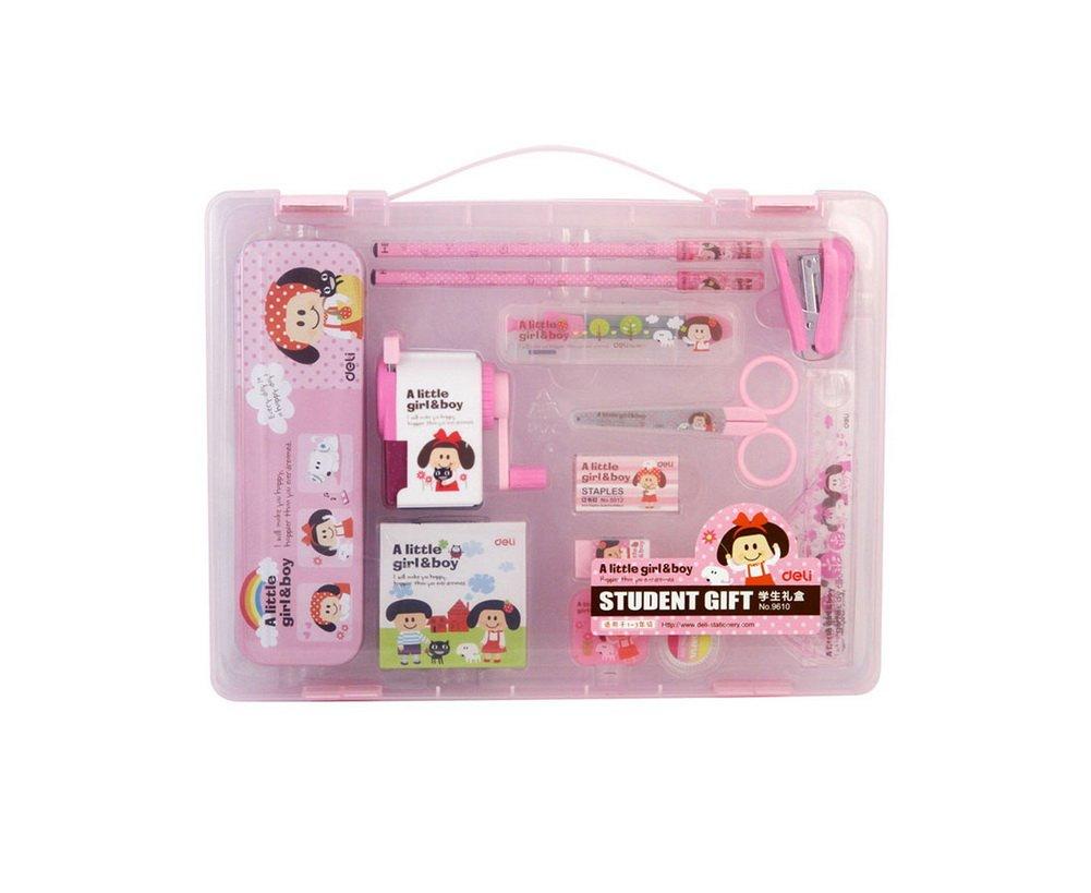 All-in-One Geometry Set for Girls, Sharpener, Eraser, Stapler, Pencils, Scissor