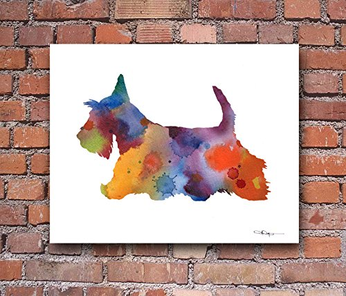 Scottish Terrier Dog Abstract Art Print By Artist DJ Rogers (Scottish Art Dog Terrier)
