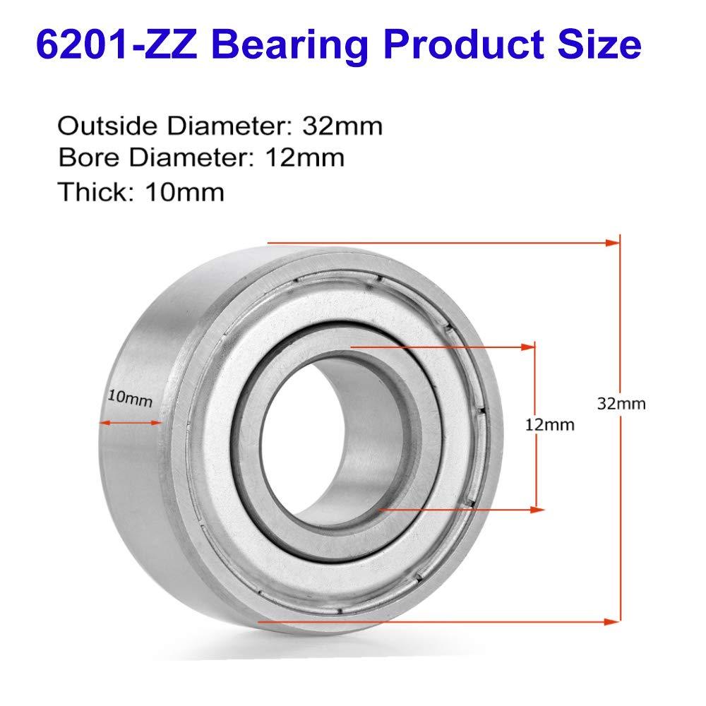 2 Pack EXERAUO 6201 Bearing 6201ZZ Ball Bearing Double Metal Shielded Ball Bearing 12mm x 32mm x 10mm Deep Groove Ball Bearing