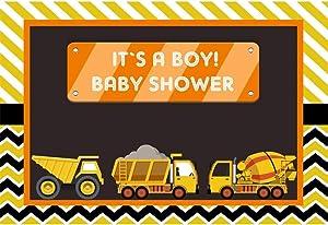YongFoto 7x5ft It's a Boy Backdrop Baby Shower Photography Background Construction Trucks Theme Party Banner Interior Decor Kids Boys Infant Newborn Portrait Photo Shoot Studio Props