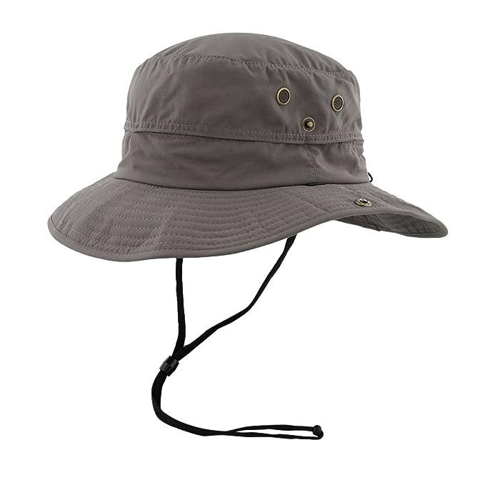 256901e35aa Mens Safari Sun Hat Wide Brim + Strap - Packable