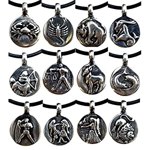 OhDeal4U Astrology Zodiac Choose Your Sign Pewter Pendant Charm Amulet w PVC Necklace