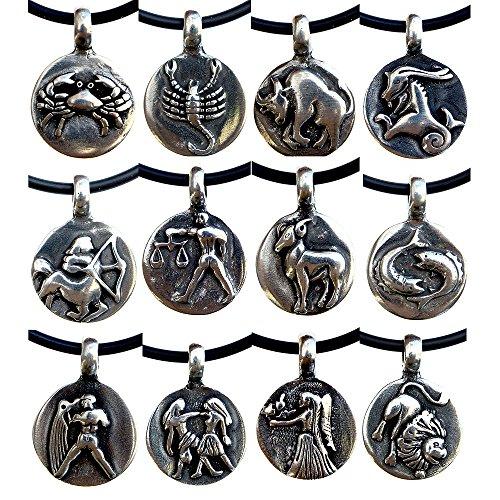 Astrology Zodiac choose your sign pewter pendant Charm Amulet w PVC Necklace