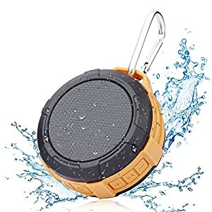 Bluetooth Speaker Waterproof Shower Speaker,Hcman Wireless Stereo Outdoor Portable Speaker with Micro SD Card Slot,Built-In Mic,Enhanced Bass,Works with iPhone,iPad,Samsung,Nexus,HTC,Laptops(Orange)