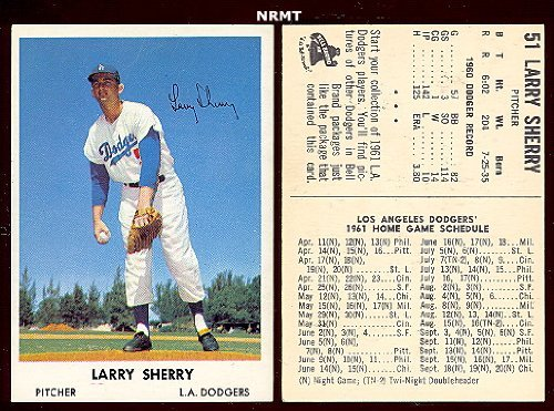 1961 bell brands baseball (baseball) Card# 51 larry sherry of the Los Angeles Dodgers ExMt Condition by bell brands