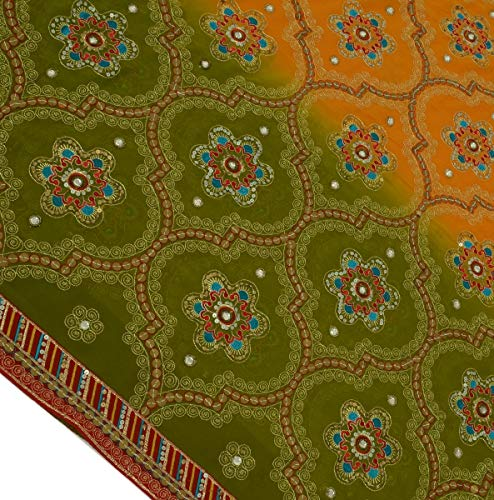 Georgette Silk Beaded - Heavy Vintage Indian Sari Blend Georgette Hand Beaded Embroidered Saree Fabric
