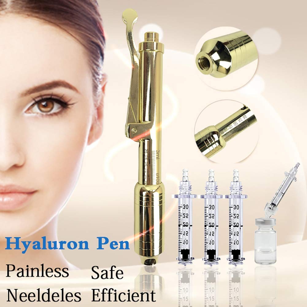 XHH Hyaluronic Injection Pen hyaluron Gun Atomizer hyaluron Pen Wrinkle Removal Water Syringe Needle Free Injection,Gold