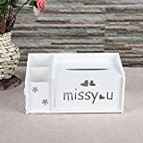 elegantstunning Multifunctional Carved Panels Tissue Remote Control Desktop Paper Storage Box