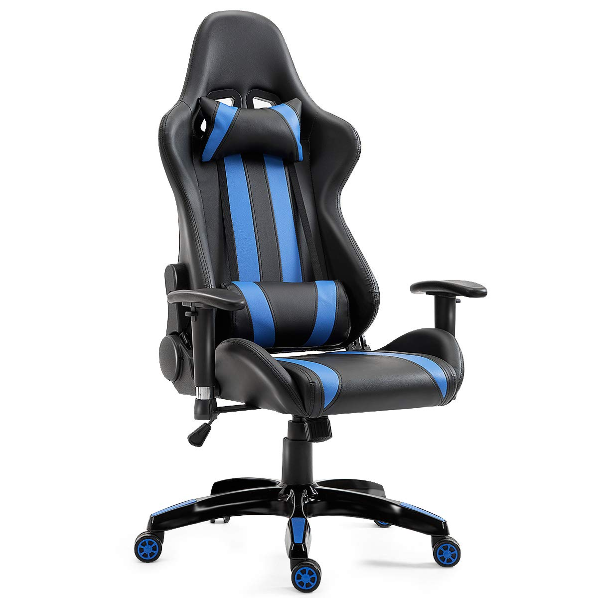 Giantex Gaming Chair Ergonomic Racing Style Chair High Back Executive Office Chair PU Leather Height Adjustable Computer Swivel Desk Chair with Headrest, Lumbar Support and Reclining Back Blue
