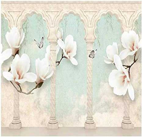 Yshasag Peinture Murale En Soie Beige Magnolia Papillon