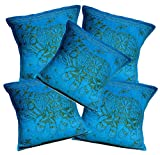 5Pcs-100Pcs Amazing India Sky Blue Cotton Jari Embroidered Work Beautiful Cushion Covers Wholesale Lot (Sky Blue -100pcs )