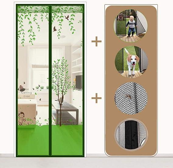 Impresión Reforzado Puerta de pantalla magnética de la mosca, Cinta mágica pesada pantalla cortina de malla Cortina de la puerta Cierre automático-verde 85x195cm(33x77inch): Amazon.es: Bricolaje y herramientas