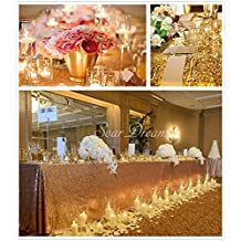 SoarDream Gold-50x50 inches Square Glitter Sequin Tablecloth Wedding Party Decoration
