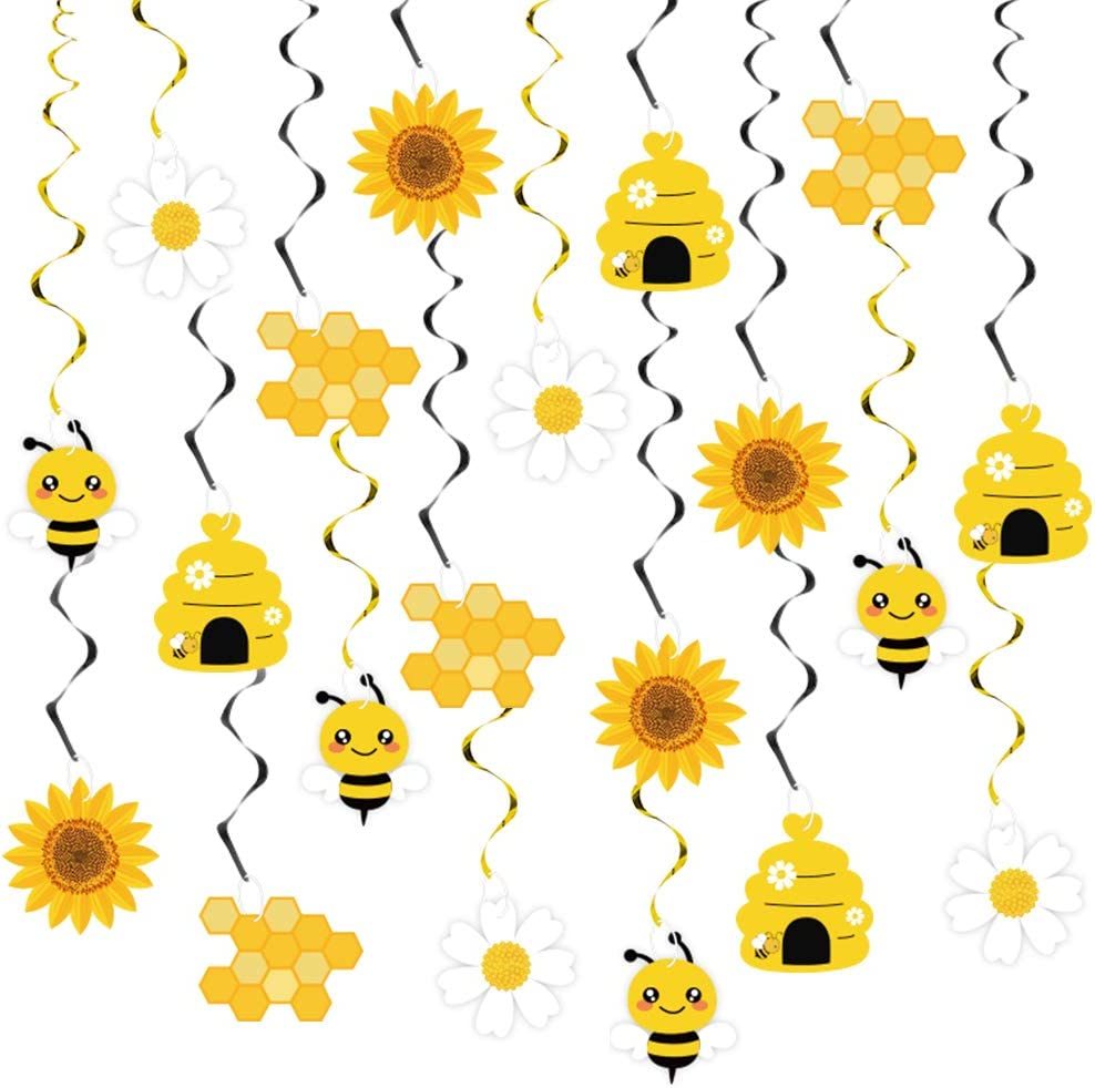 20PCS Bumble Bee Hanging Swirl Decorations, Bee Party Hanging Swirls Foil Ceiling Streamers Honey Bee Themed Party Supplies for Kids Birthday Baby Shower Gender Reveal Bee Day Party Decoration
