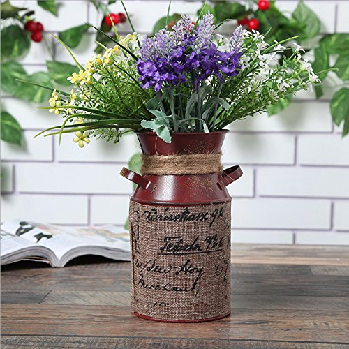 Watering Honey 7.5inch Antique Styled Metal Galvanized Milk Can with Tied Decoration-Red (Metal Antique Vases)