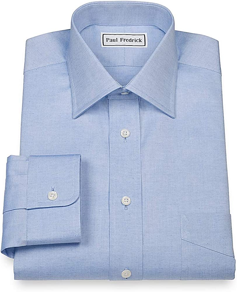 Paul Fredrick Mens Pinpoint Windsor Spread Collar Button Cuff Dress Shirt