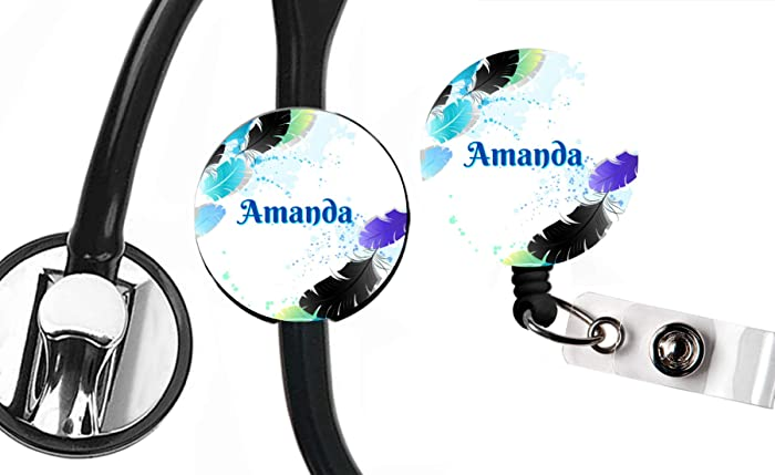 Nursing Student Gift Nurse Stethoscope Tag Vet RN Vet Tech Stethoscope Badge Reel ID Tag Ombre Purple Glitter Personalized CNA