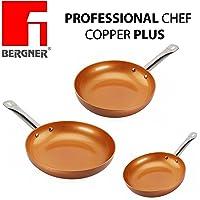 Originali Chef Copper Plus - Set di 3 padelle in rame super resistente! Diametro 18/22/26 Innovativo rivestimento antiaderente senza PFOA – pan red pans Fondo idoneo per cucina a induzione 1093
