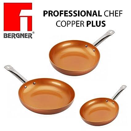 Original Chef Copper Plus - Juego 3 sartenes de cobre súper resistentes! Diámetro 18/