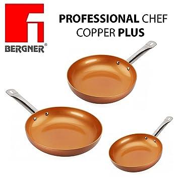 Original Chef Copper Plus - Juego 3 sartenes de cobre súper resistentes! Diámetro 18/22/26 Revestimiento antiadherente sin PFOA - sartenes de color ...