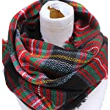 Epic Brand Infinity Scarf Collection for Men and Women | Comfortable Plaid Tartan Cashmere Blanket Circle Winter Scarves (Plaid Navy Blue/Red)