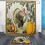 Ornate Vintage Thanksgiving Turkey Pumpkin Harvest Waterproof Polyester Fabric Shower Curtain (60' x 72') Set with 12 Hooks and Bath Mats Rugs (23.6' x 15.7') for Bathroom - Set of 2