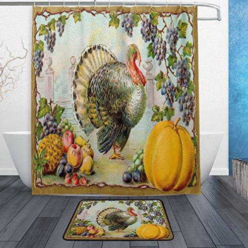 Thanksgiving Pumpkin Set (Ornate Vintage Thanksgiving Turkey Pumpkin Harvest Waterproof Polyester Fabric Shower Curtain (60