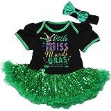 Baby Girl Mardi Gras Outfit 1st Little Miss Mardi Gras Gift Bodysuit Toddler Shirt GreenYellow Purple Glitter Set Opt Tutu Bloomers Headband