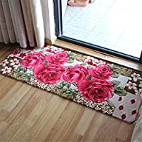 Sytian® 50*120cm Rural Rug Pretty Rose Flower Rug Non Slip Absorbent Doormat Floor Mat Bath Mat Bedroom Carpet Living Room Rug Mat