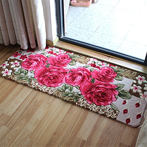 Sytian® 50*120cm Rural Rug Pretty Rose Flower Rug Non Slip Absorbent Doormat Floor Mat Bath Mat Bedroom Carpet Living Room Rug Mat ()
