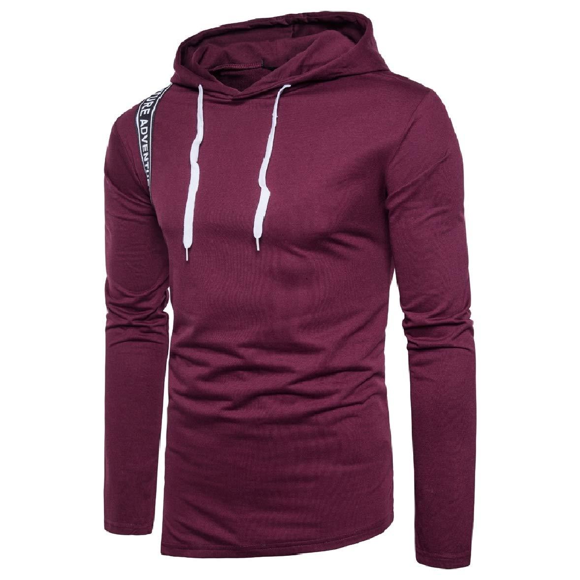 Zimaes-Men Pullover Hood Letter Printed Oversize Outwear Sweatshirt