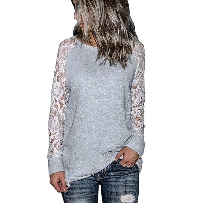 Damen Spitze Bluse FORH Mode Frauen Klassisch Vintage Langarm Spitze T-Shirt  Elegant Rundhals Langarmshirt 2980090fff